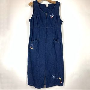 Disney Tinkerbell Denim Jean Midi Dress Sz Medium